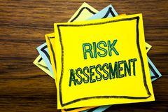 Conceptual hand writing text caption inspiration showing Risk Assessment. Business concept for Safety Danger Analyze written on st. Icky note paper on wooden Royalty Free Stock Photos