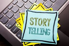 Conceptual hand writing text caption inspiration showing Storytelling. Business concept for Teller Story Message written on sticky. Note paper on dark keyboard Royalty Free Stock Photo