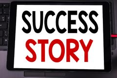 Conceptual hand writing text caption inspiration showing Success Story. Business concept for Inspiration Motivation written on tab. Let laptop on black keyboard Stock Image
