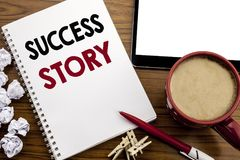 Conceptual hand writing text caption inspiration showing Success Story. Business concept for Inspiration Motivation written on not. Epad paper on the wood table Stock Images