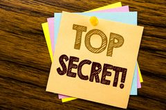 Conceptual hand writing text caption inspiration showing Top Secret. Business concept for Military Top Secret written on sticky no. Te paper on wooden background Royalty Free Stock Photos