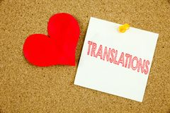 Conceptual hand writing text caption inspiration showing Translations concept for  Translate Explain Plead Book Language and Love. Written on sticky note Royalty Free Stock Images