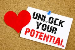 Conceptual hand writing text caption inspiration showing Unlock Your Potential. Business concept for Growth and Development writte. N on sticky note, reminder Royalty Free Stock Images