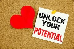 Conceptual hand writing text caption inspiration showing Unlock Your Potential. Business concept for Growth and Development writte. N on sticky note, reminder Stock Photography