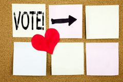 Conceptual hand writing text caption inspiration showing Vote concept for Voting Electoral Vote and Love written on wooden backgro Stock Photography