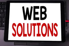 Conceptual hand writing text caption inspiration showing Web Solutions. Business concept for Internet Design Plan written on table stock photography