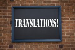 Conceptual hand writing text caption showing announcement Translations. Business concept for   Translate Explain Plead Book Langua. Ge written on frame old brick Royalty Free Stock Photography