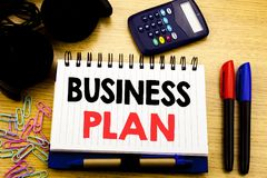 Conceptual hand writing text caption showing Business Plan. Business concept for Mission or Vision written on notebook book on the. Background in the Office Royalty Free Stock Photo