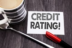 Conceptual hand writing text caption showing Credit Rating. Business concept for Finance Score History written on sticky note pape. R on wooden wood background stock photos