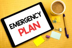 Conceptual hand writing text caption showing Emergency Plan. Business concept for Disaster Protection Written on tablet laptop, wo stock image
