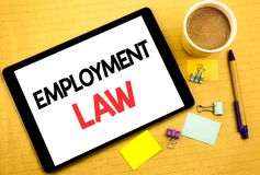 Conceptual hand writing text caption showing Employment Law. Business concept for Employee Legal Justice Written on tablet laptop,. Conceptual hand writing text Royalty Free Stock Image