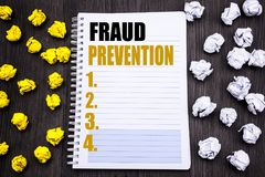 Conceptual hand writing text caption showing Fraud Prevention. Business concept for Crime Protection Written on notepad note noteb royalty free stock image