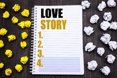 Conceptual hand writing text caption showing Love Story. Business concept for Loving Someone Heart  Written on notepad note notebo. Conceptual hand writing text Royalty Free Stock Photo