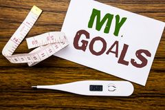 Conceptual hand writing text caption showing My Goals. Business concept for List Plan for Motivation written on sticky note paper Royalty Free Stock Photography