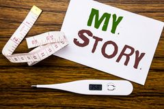 Conceptual hand writing text caption showing My Story. Business concept for Telling Tell About You written on sticky note paper on. Conceptual hand writing text Stock Photography