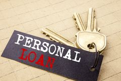 Conceptual hand writing text caption showing Personal Loan. Business concept for Bank Financial Help written on note paper attache. D to keys note paper on the stock images
