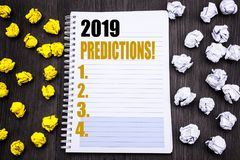 Conceptual hand writing text caption showing 2019 Predictions. Business concept for Forecast Predictive Written on notepad note no