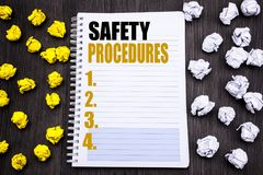 Conceptual hand writing text caption showing Safety Procedures. Business concept for Accident Risk Policy Written on notepad note. Conceptual hand writing text Royalty Free Stock Photography