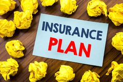 Conceptual hand writing text inspiration showing Insurance Plan. Business concept for Health Life Insured written on sticky note p. Aper the wooden background Royalty Free Stock Photos