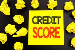 Conceptual hand writing text showing Credit Score. Business concept for Financial Rating Record written on sticky note paper. Fold. Conceptual hand writing text stock photo