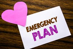 Conceptual hand writing text showing Emergency Plan. Concept for Disaster Protection written on sticky note paper, wooden wood bac. Conceptual hand writing text Royalty Free Stock Images