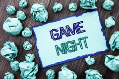 Conceptual hand writing text showing Game Night. Concept meaning Entertainment Fun Play Time Event For Gaming written on Sticky no. Conceptual hand writing text royalty free stock photography