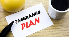 Conceptual hand writing text showing Insurance Plan. Business concept for Health Life Insured written sticky note empty paper, Woo. Conceptual hand writing text Royalty Free Stock Photo