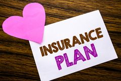 Conceptual hand writing text showing Insurance Plan. Concept for Health Life Insured written on sticky note paper, wooden wood bac. Conceptual hand writing text Stock Photography