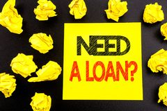 Conceptual hand writing text showing Need A Loan Question. Business concept for Mortage Credit written on sticky note paper. Folde. Conceptual hand writing text Royalty Free Stock Photo