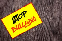 Conceptual hand writing text showing Stop Bullying. Concept meaning Awareness Problem About Violence Abuse Bully Problem written o. Conceptual hand writing text Stock Image