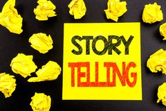 Conceptual hand writing text showing Storytelling. Business concept for Teller Story Message written on sticky note paper. Folded. Conceptual hand writing text Royalty Free Stock Photography