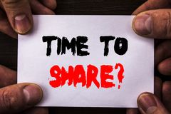 Conceptual hand writing text showing Time To Share Question. Concept meaning Your Story Sharing Feedback Suggestion Information  w. Ritten Sticky Note Paper Stock Photos