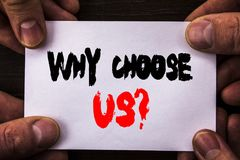 Conceptual hand writing text showing Why Choose Us Question. Concept meaning Reason Of Choice Customer Satisfaction Advantage writ. Ten Sticky Note Paper Holding Stock Image