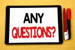 Conceptual handwriting text caption inspiration showing Any Questions. Business concept for Answer Help Question Written on tablet Royalty Free Stock Image