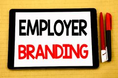 Conceptual handwriting text caption inspiration showing Employer Branding. Business concept for Brand Building Written on tablet l. Conceptual handwriting text stock photography