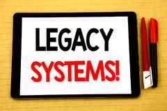 Conceptual handwriting text caption inspiration showing Legacy Systems. Business concept for Upgrade SOA Application Written on ta. Blet, wooden background with Stock Photos
