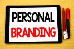 Conceptual handwriting text caption inspiration showing Personal Branding. Business concept for Brand Building Written on tablet l. Conceptual handwriting text royalty free stock image