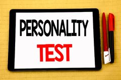 Conceptual handwriting text caption inspiration showing Personality Test. Business concept for Attitude Assessment Written on tabl. Et, wooden background with Stock Photos
