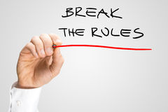 Conceptual Handwritten Red Underline on Break the Rules Royalty Free Stock Image