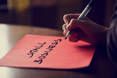 Conceptual Handwritten Small Business on a Paper stock photos