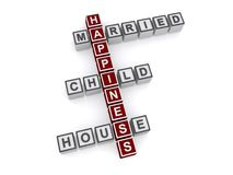 Conceptual happiness sign. Letters block in the shape of a crossword spelling word associated with happiness including married, child and house Stock Image