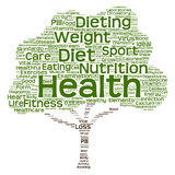 Conceptual health or diet tree word cloud Royalty Free Stock Image