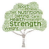 Conceptual health or diet tree word cloud. Conceptual health diet or nutrition tree word cloud isolated on background Royalty Free Stock Photo