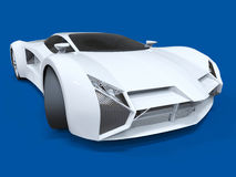 Conceptual high-speed white sports car. Blue uniform background. Glare and softer shadows. 3d rendering. Conceptual high-speed white sports car. Blue uniform Royalty Free Stock Images