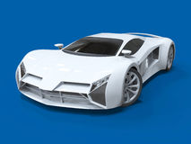 Conceptual high-speed white sports car. Blue uniform background. Glare and softer shadows. 3d rendering. Conceptual high-speed white sports car. Blue uniform Stock Image