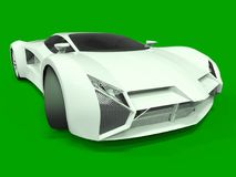 Conceptual high-speed white sports car. Green uniform background. Glare and softer shadows. 3d rendering. Royalty Free Stock Image