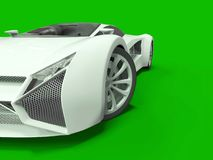 Conceptual high-speed white sports car. Green uniform background. Glare and softer shadows. 3d rendering. Royalty Free Stock Photo