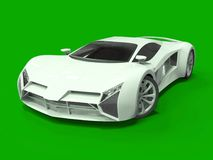 Conceptual high-speed white sports car. Green uniform background. Glare and softer shadows. 3d rendering. Stock Photo