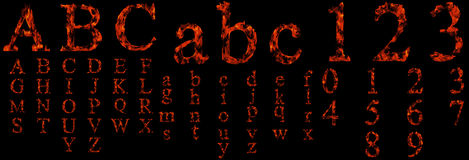 Conceptual hot red fire flame font Stock Photography