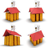 Conceptual house built from coins. Set. Royalty Free Stock Photos
